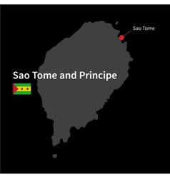 Detailed map of sao tome and principe and capital vector