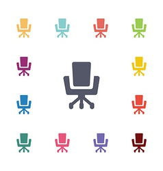 Office chair flat icons set vector