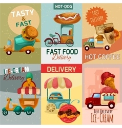 Fast food delivery posters vector