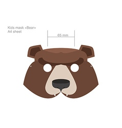 Carnival baby bear mask in a4 format print and cut vector