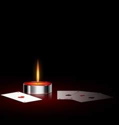 Burning small candle and cards vector