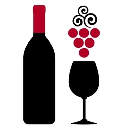 Wine bottle with glass and red grape vector