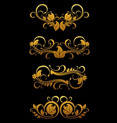 Golden vintage floral vector