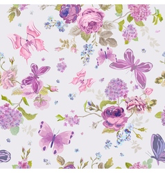 Spring Flowers Background with Butterflies vector image