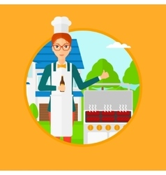 Woman cooking meat on grill vector