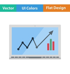 Flat design icon of laptop with chart vector