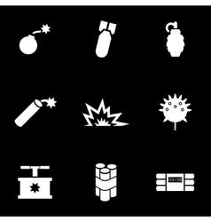 white bomb icon set vector image