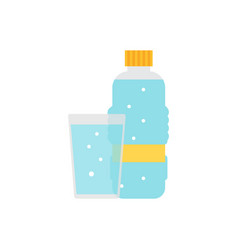a bottle of water and a glass icon vector image