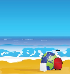beach and sea color vector image vector image