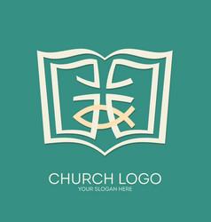 bible cross and jesus fish vector image vector image