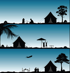 Camping in nature people silhouette set vector