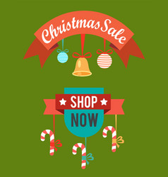 christmas sale shop now poster vector image vector image