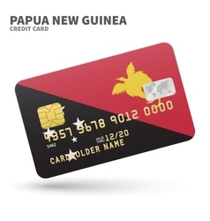 Credit card with papua new guinea flag background vector