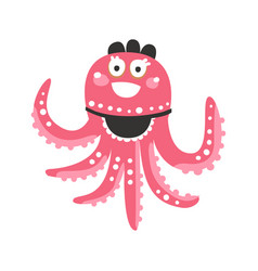 Cute cartoon pink octopus waitress character vector