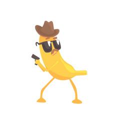 Detective banana with gun cartoon funny fruit vector
