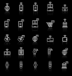 Fintech line icons with reflect on black vector