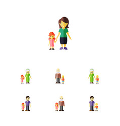 Flat icon people set of daugther father grandpa vector