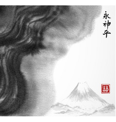 Fuji mountain and abstract black ink wash painting vector