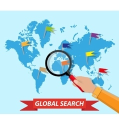Global search world map hand magnifying glass vector image vector image