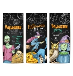 Halloween Party chalk sketch banners set vector image