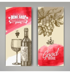 hand drawn of wine banners vector image