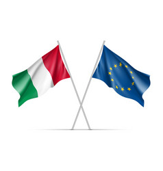 Italy and european union waving flags vector