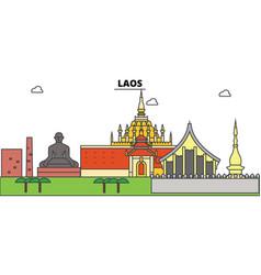 Laos outline city skyline linear vector