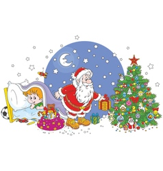 Little child watching Santa vector image vector image