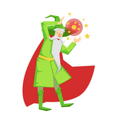 Magic witch wizard in action with crystal ball vector