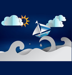 Paper cut art of boat sailing in the sea vector