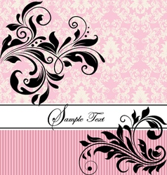 Pink floral wedding invitation vector