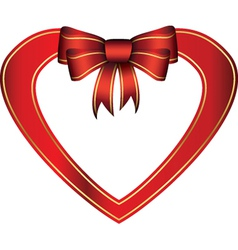 Red heart with gift bow vector image