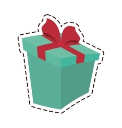 Round gift box ribbon festive color cut line vector