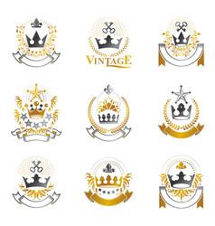 Royal crowns emblems set heraldic coat of arms vector