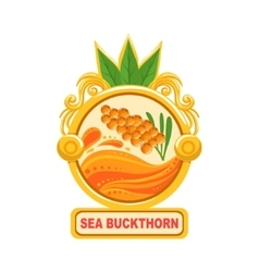 Sea buckthorn bright color jam label sticker vector