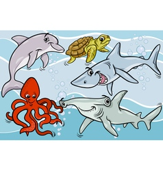 sea life animals and fish cartoon vector image