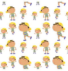 Seamless background with boy in many actions vector