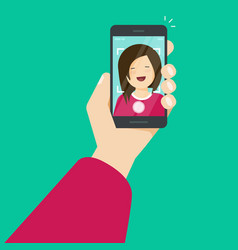 selfie via smartphone making a photo of yourself vector image vector image