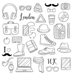 Set of graphic elements icons hipster accessories vector