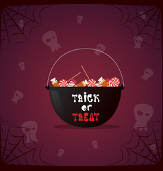 silhouette witch pot with potion and skull happy vector image vector image