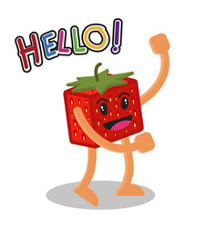 Smiling strawberry fruit cartoon mascot character vector