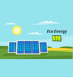 Solar panels on the meadow vector