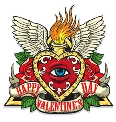 tattoo art on the theme of Valentines Day vector image