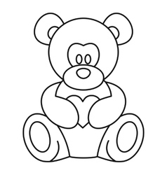 Teddy bear icon outline style vector