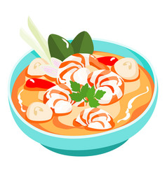 Tom yum kung thai spicy soup vector