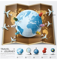 Travel and journey world map with point mark vector
