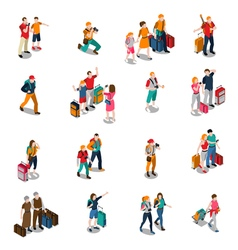 Travel people isometric icons vector