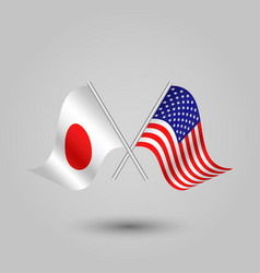 Two crossed japanese and american flags vector