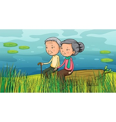 Two old people sitting near the lake vector image vector image