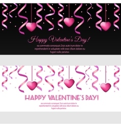 Valentines day banners with pink hearts vector